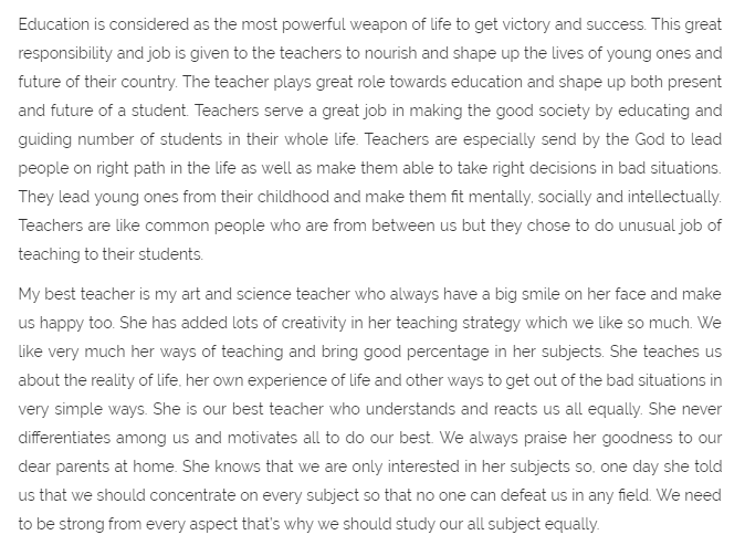 essay about teachers day in english Lots of free teachers' day card messages you can write in your card save time and effort by using our ready made messages in your next teachers' day card we also have lots of other categories to always help you know what to write in your next greeting card.