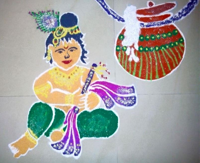 Krishna Janmashtami Rangoli Ideas Images & Pictures