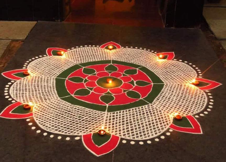 Easy Rangoli Design For Diwali & Happy New Year