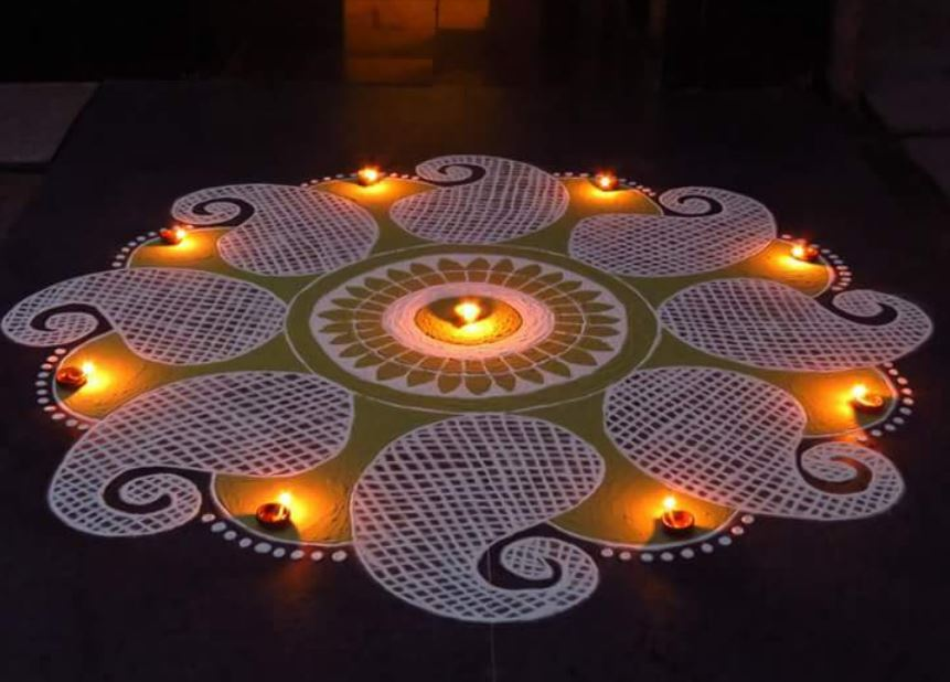 Easy Rangoli Design For Merry Christmas