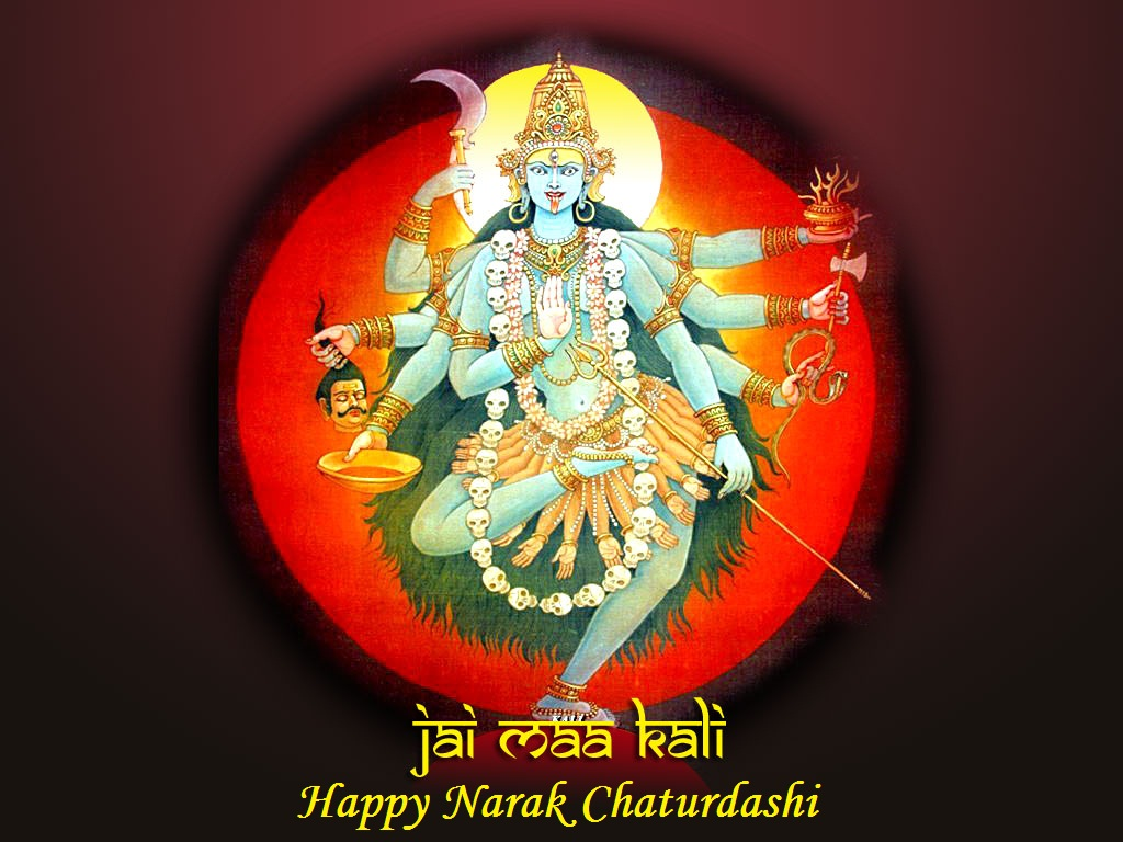 Happy Naraka Chaturdashi Wishes Greeting Card
