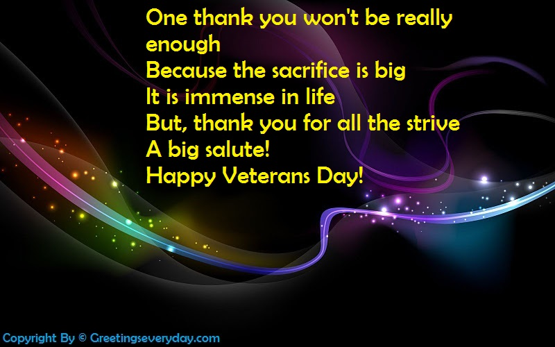 "Happy Veteran's Day ""Thank You"" Message"