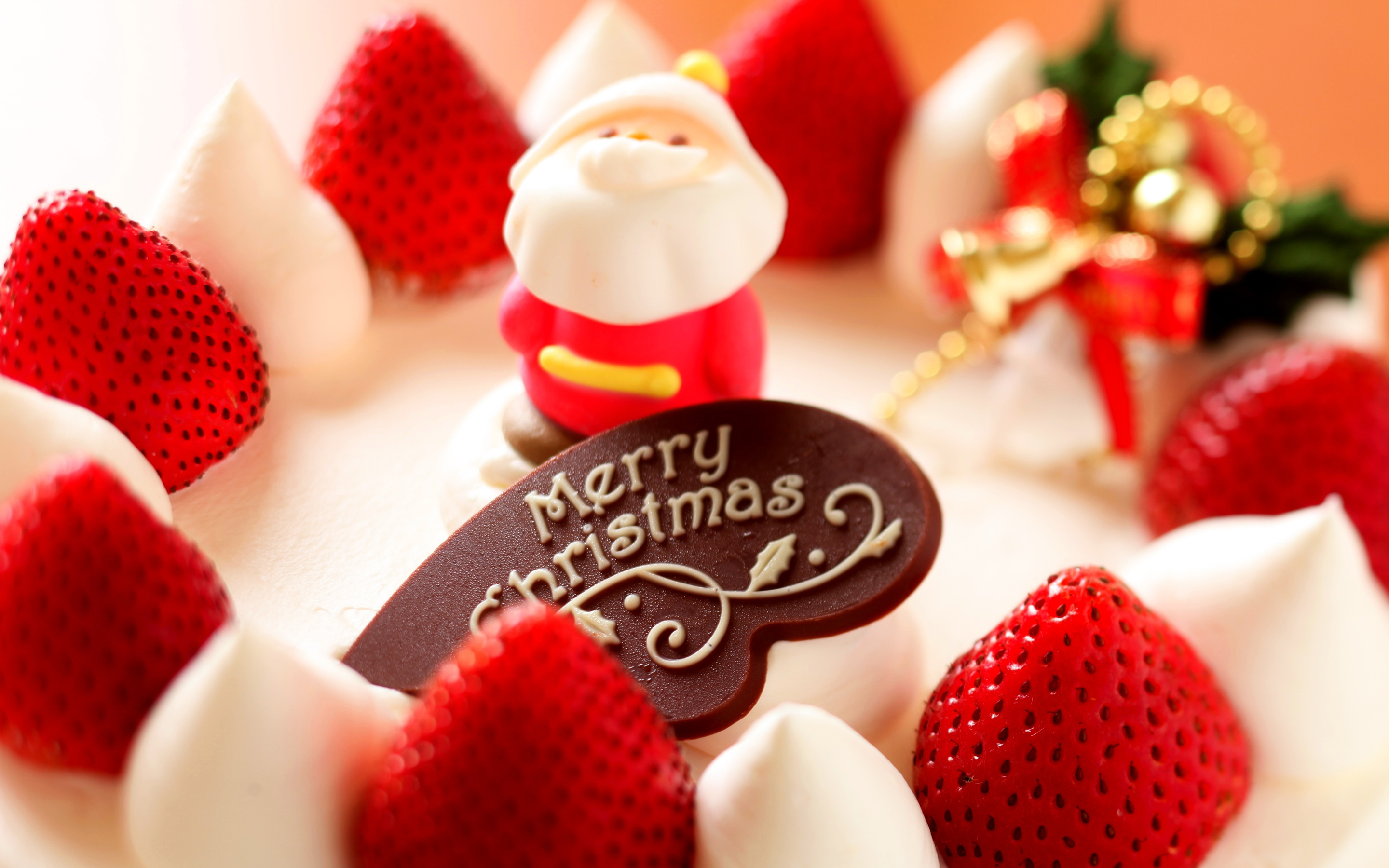 Merry Christmas Strawberry Dessert Wallpaper For Desktop