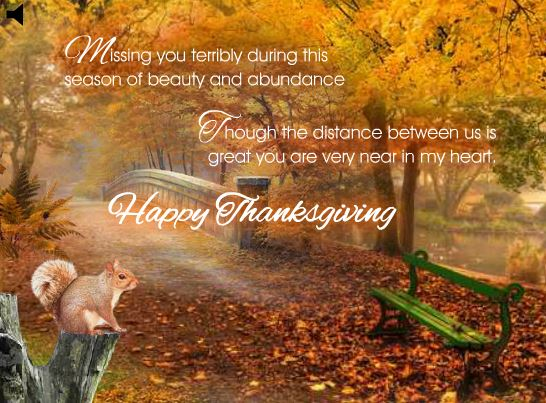 """Thanksgiving Day """"Missing You"""" Greeting Card"""