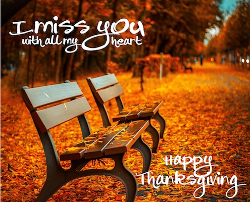 """Thanksgiving Day """"Miss You"""" Greeting Card & Image"""
