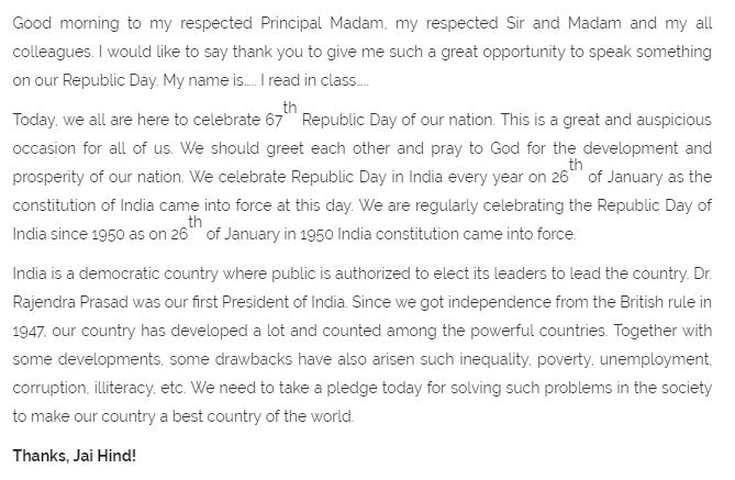 pdf th janunary th republic day speech essay  republic day speech in english