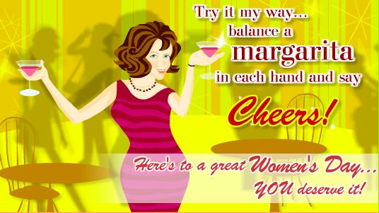 Happy Women's Day 2018 Cartoon Greeting Card Download