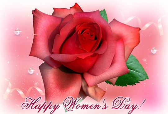 Women's Day 2018 Greeting Card with Red Rose for Wife