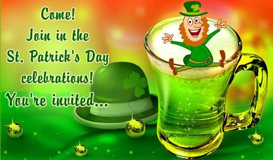 Happy St Patrick's Day Invitation Card Free Download